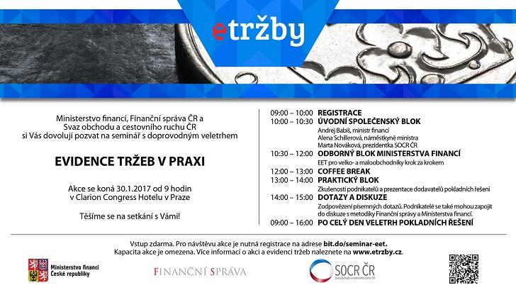 Pozvánka na seminář a veletrh Evidence tržeb v praxi v Praze
